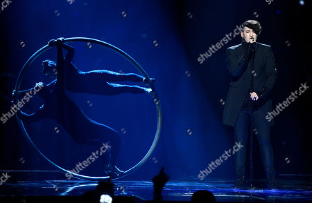 Stock Photo of Israel's Hovi Star performs the song 'Made Of Stars' during the Eurovision Song Contest final in Stockholm, Sweden
