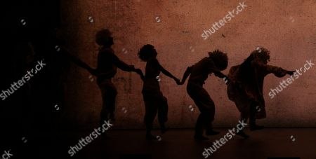 """Dancers from the Hofesh Shechter Company perform """"Sun"""" during a rehearsal at the National Theater Concert Hall in Taipei, Taiwan, . The work will be performed from April 8 ~ April 10 at the National Theater Concert Hall in Taipei"""
