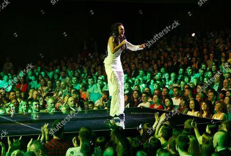 Ukraine's Eurovision winner singer Jamala performs during a concert in Kiev, Ukraine