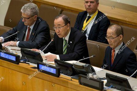 Hoesung Lee, Ban Ki-moon, Mogens Lykketoft United Nations Secretary General Ban Ki-moon, center, is joined by Intergovernmental Panel on Climate Change Chairman Hoesung Lee, right, and U.N. General Assembly President Mogens Lykketoft as he speaks during a high level meeting on the Implementation of the Climate and Development Agendas, at U.N. headquarters