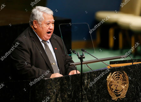 Tuilaepa Aiono Sailele Malielegaoi, Prime Minister of Samoa, addresses the United Nations High-level Thematic Debate on Achieving the Sustainable Development Goals, at U.N. headquarters