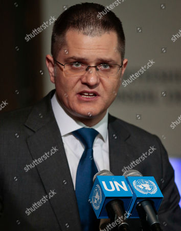 Former Serbian foreign minister Vuk Jeremic speaks during a press conference after addressing U.N. General Assembly members about his candidacy for U.N. Secretary General, at U.N. headquarters. The United Nations is taking a historic step to open up the usually secret process of selecting the next secretary-general, giving all countries the chance to question candidates on issues