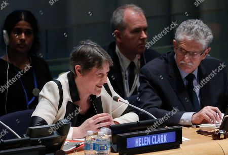 General Assembly President Mogens Lykketoft, right, listens as former New Zealand Prime Minister Helen Clark, left, who heads the U.N. Development Program, speaks as she address U.N. General Assembly members about her candidacy for U.N. Secretary General, at U.N. headquarters. The United Nations is taking a historic step to open up the usually secret process of selecting the next secretary-general, giving all countries the chance to question candidates on issues