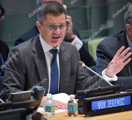 Former Serbian foreign minister Vuk Jeremic address questions from the 193-member General Assembly about his candidacy for U.N. Secretary General, at U.N. headquarters. The United Nations is taking a historic step to open up the usually secret process of selecting the next secretary-general, giving all countries the chance to question candidates on issues