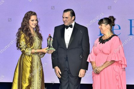 Stock Photo of Princess Lalla Salma of Morocco with Prince Charles-Philippe d'Orleans and Joana Vasconcelos