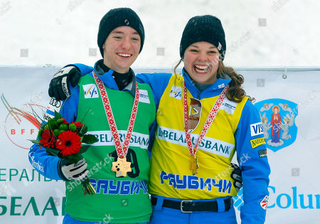 Ashley Caldwell, Christopher Lillis Christopher Lillis of USA, left, and Ashley Caldwell of USA pose for photo as they stand on a podium celebrating their victory in the FIS Freestyle Ski World Cup 2016 event in Raubichi, on the outskirts of Minsk, Belarus, Saturday, Feb.20, 2016
