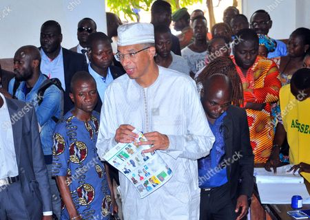 Lionel Zinsou Presidential candidate Benin prime minister Lionel Zinsou, center, prior to casting his ballot during the election, in Cotonou, Benin, . Benin citizens voted Sunday in an election to choose a successor to the West African nation's president, who is stepping down after two terms