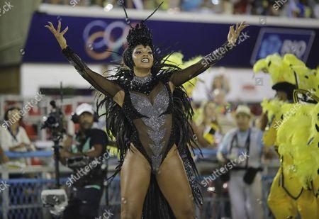 Juliana Alves Drum queen Juliana Alves, from Unidos da Tijuca samba school, dances during the Carnival parade at the Sambadrome in Rio de Janeiro, Brazil