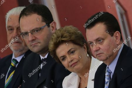 Dilma Rousseff, Gilberto Kassab, Nelson Barbosa, Jaques Wagner Brazil's President Dilma Rousseff, second right, accompanied by the Minister of Cities Gilberto Kassab, right, and Minister of Economy Nelson Barbosa, and her Chief of Staff Jaques Wagner, listens in during the launching ceremony of the third stage of Minha Casa Minha Vida Program, at the Planalto Presidential Palace in Brasilia, Brazil, . Former Brazilian President Luiz Inacio Lula da Silva said Monday that he believes Rousseff, his embattled successor and protege, can survive mounting pressure in Congress for her impeachment. Rousseff recently appointed Silva as her chief of staff in a much-discussed move that still must be confirmed by Brazil's top court
