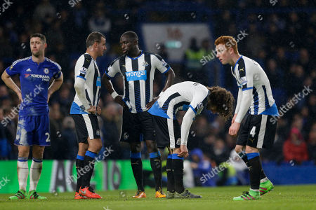 Newcastle United's, from second left, Steven Taylor, Moussa Sissoko, captain Fabricio Coloccini and Jack Colback wait for a corner during the English Premier League soccer match between Chelsea and Newcastle United at Stamford Bridge stadium in London