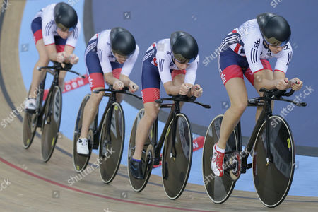 Britain's Laura Trott, Elinor Barker, Ciara Horne and Joanna Roswell-Shand compete in the team pursuit first round at the World Track Cycling championships at the Lee Valley Velopark in London