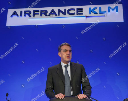 Air France-KLM's Chairman and Chief Executive Officer Alexandre de Juniac arrives for the full year 2015 results presentation in Paris, . Air France-KLM Group announced its first annual operating profit since 2010