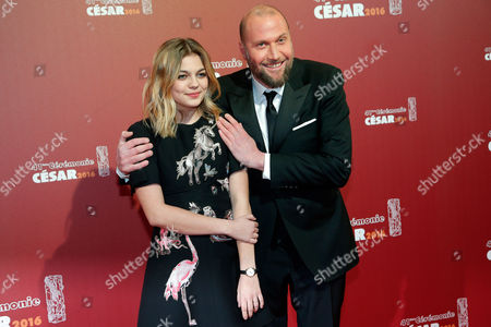 French actress Louane, left, and Belgian actor Francois Damiens arrive at the 41st French Cesar Awards Ceremony, in Paris, . This annual ceremony is presented by the French Academy of Cinema Arts and Techniques