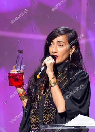 French-Moroccan singer Hindi Zahra speaks after receiving the best world music album award during the 31st Victoires de la Musique, the annual French music awards ceremony,, in Paris, France