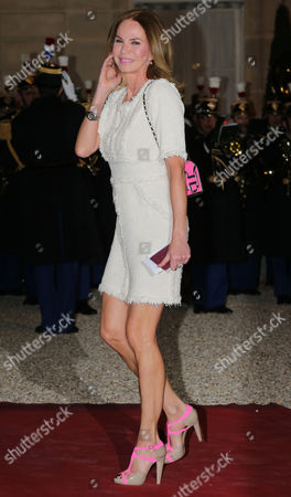 Stock Image of Rosalie van Breemen arrives for a state dinner at the Elysee Presidential Palace in Paris, France, attended by Netherlands King Willem-Alexander and Queen Maxima
