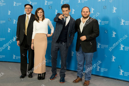 Stock Photo of Actors Oscar Barilka, Julieta Zylberberg, director Daniel Burman and actor Alan Sabagh, from left, pose for the photographers during a photo call for the film 'El rey del Once | The Tenth Man' at the 2016 Berlinale Film Festival in Berlin, Germany