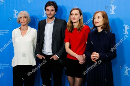 Actors Edith Scob, Roman Kolinka, Director Mia Hansen-Love and actress Isabelle Huppert, from left, pose for photographer during a photo call for the competition film 'Things To Come' at the 2016 Berlinale Film Festival in Berlin