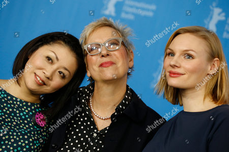 Actress Nami Kamata, director Doris Doerrie and actress Rosalie Thomass, from left, pose for the photographers during a photo call for the film 'Fukushima, Mon Amour' at the 2016 Berlinale Film Festival in Berlin, Germany