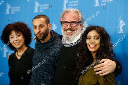 Actress Salwa Sakkara, actor Tamer Nafar, director and producer Udi Aloni and actress Samar Qupty, from left, pose for the photographers during a photo call for the film 'Junction 48' at the 2016 Berlinale Film Festival in Berlin, Germany