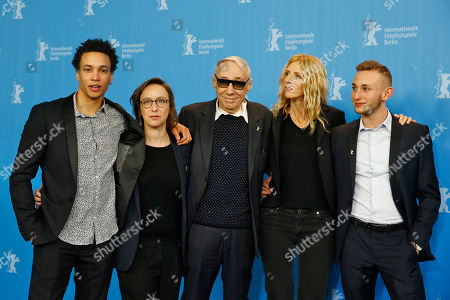 Actor Corentin Fila, writer Celine Sciamma, director Andre Techine, actress Sandrine Kiberlain and actor Kacey Mottet Klein, from left, pose for the photographers during a photo call for the film 'Being 17' at the 2016 Berlinale Film Festival in Berlin, Germany