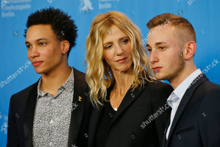 Actor Corentin Fila, actress Sandrine Kiberlain and actor Kacey Mottet Klein, from left, pose for the photographers during a photo call for the film 'Being 17' at the 2016 Berlinale Film Festival in Berlin, Germany