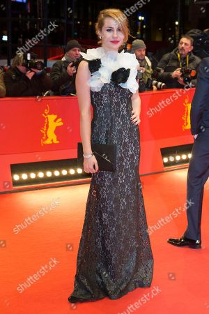 Actress Tihana Lazovic, one of the European Shooting Star 2016, poses for the photographers on the red carpet for the film 'Alone in Berlin' at the 2016 Berlinale Film Festival in Berlin