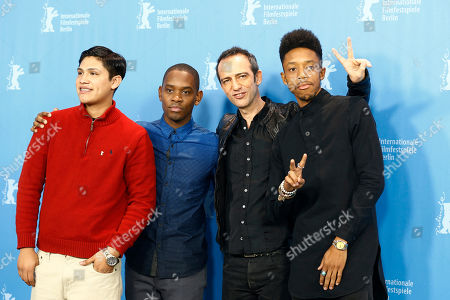 From left, actors Johnny Ortiz and Aml Ameen, director Rafi Pitts and actor Darrell Britt-Gibson, pose or photographers during the photo call for the movie ' Soy Nero', at the 2016 Berlinale Film Festival in Berlin
