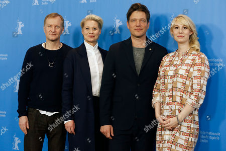 From left, actor Ulrich Thomsen, actress Trine Dyrholm, director Thomas Vinterberg and actress Helene Reingaard Neumann pose during the photocall for the movie 'The Commune' at the 2016 Berlinale Film Festival in Berlin, Germany