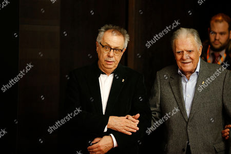 Berlinale director Dieter Kosslick, left, and German cinematographer Michael Ballhaus arrive for a news conference at the 2016 Berlinale Film Festival in Berlin, Germany, . Michael Ballhaus will be awarded with the Honorary Golden Bear for his lifetime achievement