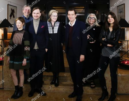 The Jury of the International Berlin Film Festival, from left: Alba Rohrwacher, Nick James, Lars Eidinger, jury president Meryl Streep, Clive Owen, Brigitte Lacombe and Malgorzata Szumowska, pose for a group photo on the eve of the 2016 Berlinale Film Festival in Berlin