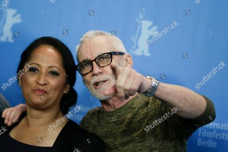 Actress Nancy Brunning, left, and director Lee Tamahori pose for photographers during a photo call for the competition film 'The Patriarch' at the 2016 Berlinale Film Festival in Berlin