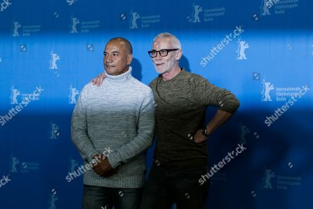 Actors Temuera Morrison, left and director Lee Tamahori pose for photographers during a photo call for the competition film 'The Patriarch' at the 2016 Berlinale Film Festival in Berlin