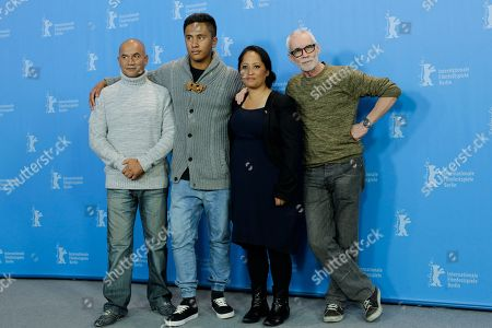 Actors Temuera Morrison, Akuhata Keefe, Nancy Brunning and director Lee Tamahori, from left, pose for photographers during a photo call for the competition film 'The Patriarch' at the 2016 Berlinale Film Festival in Berlin