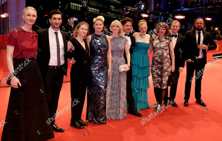 Stock Image of Producer Sisse Graum Jorgensen, actors Fares Fares, Martha Sofie Wallstrom, Trine Dyrholm, Helene Reingaard Neumann, director Thomas Vinterberg, actors Julie Agnete Vang, Anne Gry Henningsen, Ulrich Thomsen and Magnus Millang, from left, pose for the photographers on the red carpet for the film 'The Commune' at the 2016 Berlinale Film Festival in Berlin, Germany