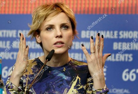 Stock Picture of Actress Julia Kijowska addresses the media during the press conference for the film 'United States of Love' at the 2016 Berlinale Film Festival in Berlin, Germany