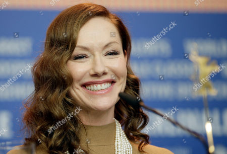 Actress Simone-Elise Girard attends a press conference for the film 'Boris without Beatrice' at the 2016 Berlinale Film Festival in Berlin, Germany