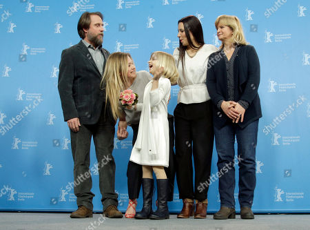 Actors Bjarne Mädel, Julia Jentsch, Emilia Pieske, director Anne Zohra Berrached and actress Johanna Gastdorf, from left, pose for the photographers during a photo call for the film '24 Weeks' at the 2016 Berlinale Film Festival in Berlin, Germany