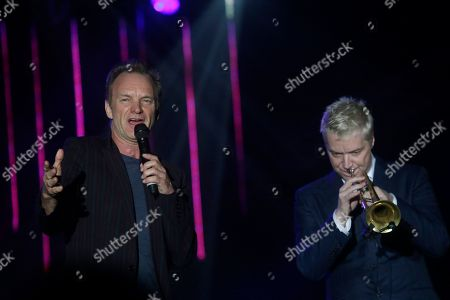 Sting, Chris Botti Musician Sting, left, and Chris Botti performs during a concert at the Java Jazz Festival in Jakarta, Indonesia