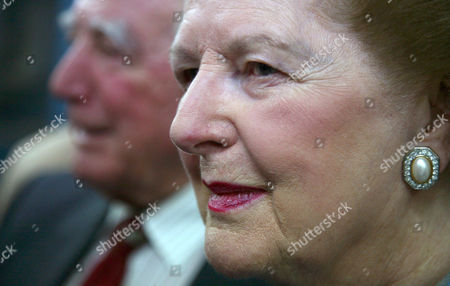 Editorial photo of Margaret Thatcher at the first striking of legal tender coins for the Falkland Islands, Pobjoy Mint, Kingswood, Surrey, Britain - 31 May 2007
