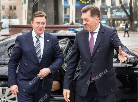 Maris Kucinskis, Algirdas Butkevicius Lithuania's Prime Minster Algirdas Butkevicius, right, welcomes Latvia's Prime Minister Maris Kucinskis at the Government Palace in Vilnius, Lithuania