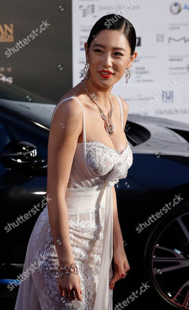 Stock Picture of Clara Lee Sung-min South Korean model-actress Clara Lee Sung-min poses for photographers upon arrival at the Asian Film Awards in Macau