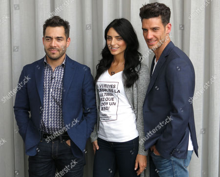 """Actors Omar Chaparro, left, Aislinn Derbez, center, and Erick Elias, of the movie """"Compadres"""" pose for a portrait in Mexico City, . """"Compadres"""" is the story of a Mexican cop looking for his kidnaped girlfriend with the help of an American teenager will premiere on March 31 in Mexico and on April 22 in the USA"""