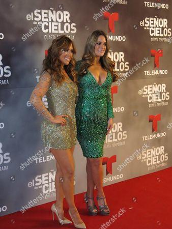 "Mexican actress Vanessa Villela, left, and Venezuelan actress Sabrina Seara pose for photos on the red carpet of the fourth season of Telemundo's ""El senor de los cielos"" in Mexico City"
