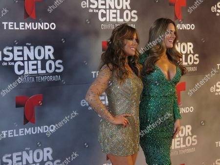 "Mexican actress Vanessa Villela, left, and Venezuelan actress Sabrina Seara pose for photos on the red carpet for the fourth season of Telemundo's ""El senor de los cielos"" in Mexico City"