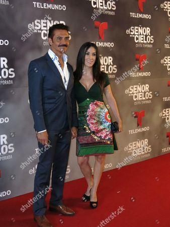 "Stock Photo of Mexican actors Tomas Goros, left, and Sandra Benhumea pose for photos on the red carpet for the fourth season of Telemundo's ""El senor de los cielos"" in Mexico City"