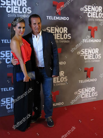 """Stock Picture of Mexican actor Plutarco Haza, right, and his wife Ximena del Toro pose for photos on the red carpet for the fourth season of Telemundo's """"El senor de los cielos"""" in Mexico City"""