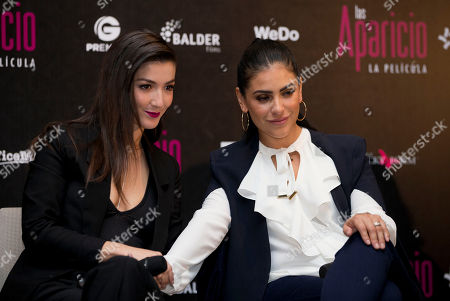 Erendira Ibarra, Liz Gallardo Actresses Erendira Ibarra, left, and Liz Gallardo touch clasp arms as they sit side by side during a press conference to promote the release of the film Las Aparicio, in Mexico City, . The film is based in the TV series about a family of all women