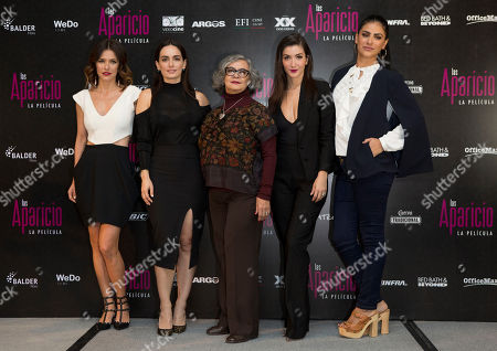 Iliana Fox, Ana de la Reguera, Maria del Carmen Farias, Erendira Ibarra, Liz Gallardo Actresses, from left, Iliana Fox, Ana de la Reguera, Maria del Carmen Farias, Erendira Ibarra, and Liz Gallardo pose for pictures during a press conference to promote the release of their new film Las Aparicio, in Mexico City, . The film is based in the TV series about a family of all women