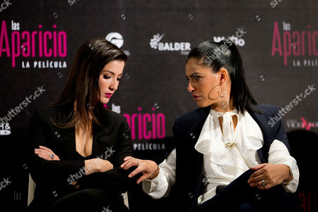 Erendira Ibarra, Liz Gallardo Actresses Erendira Ibarra, left, and Liz Gallardo talk during a press conference to promote the release of the new film Las Aparicio, in Mexico City, . The film is based in the TV series about a family of all women