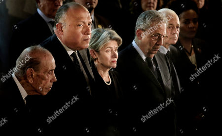 Stock Image of Sameh Shoukry, Irina Bokova, Amr Moussa, Nabil Al-Araby From second left to right, Egyptian Foreign Minister Sameh Shoukry, Director-General of UNESCO, Irina Bokova, former Secretary-General of the Arab League Amr Moussa, and Secretary General of the Arab League Nabil Al-Araby, pay their respects during the funeral of of former U.N. Secretary-General Boutros Boutros-Ghali, in Al-Boutrossiya Church, at the main Coptic Cathedral complex in Cairo, Egypt, . Boutros-Ghali, a veteran Egyptian diplomat who helped negotiate his country's landmark peace deal with Israel but then clashed with the United States when he served a single term as U.N. secretary-general, died Tuesday, Feb. 16, 2016. He was 93